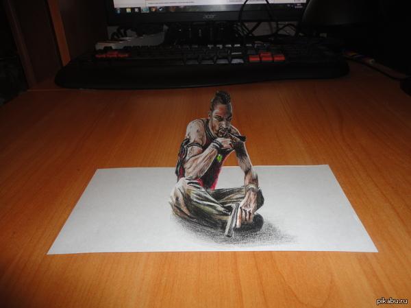 Навеяно Far Cry 3   3D рисунок, 3D рисунки, рисунок, рисунок карандашом, мой рисунок, Far Cry 3