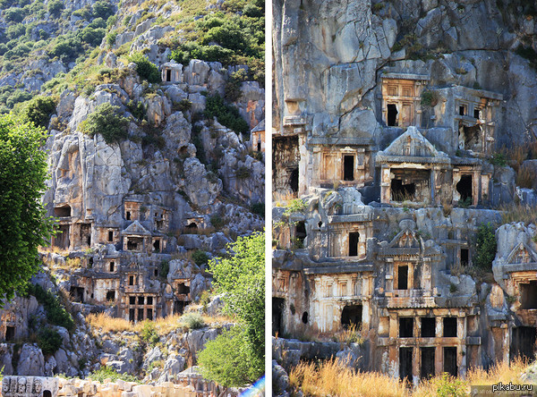 Прямо в скалах Это гробницы, высеченные в скалах вручную. Город Мира, Турция.  Турция, гробницы, скалы, колоссальный труд