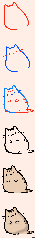 Как нарисовать кота пушина карандашом поэтапно