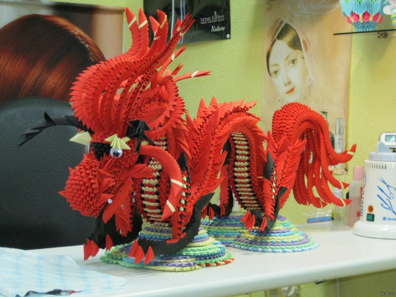 подробная схема дракона из оригами