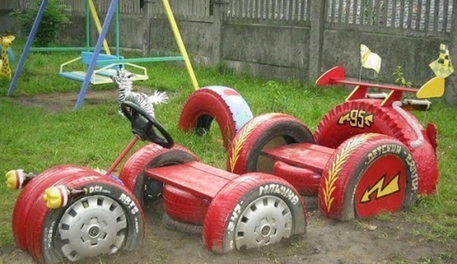 Поделки из шин на детской площадке